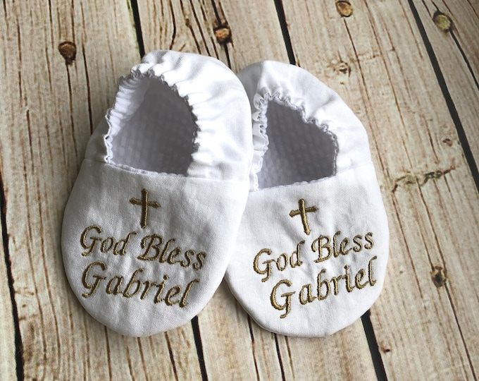 God Bless Baby Infant Baptism Crib Shoes -  Personalized with Name and Date, Christening, Slippers, Godson, Goddaugther gift, Keepsake