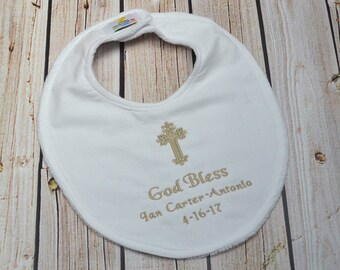 Custom Baptism Bib - Dedication, New Baby, Christening, Keepsake, Godson, Goddaughter gift