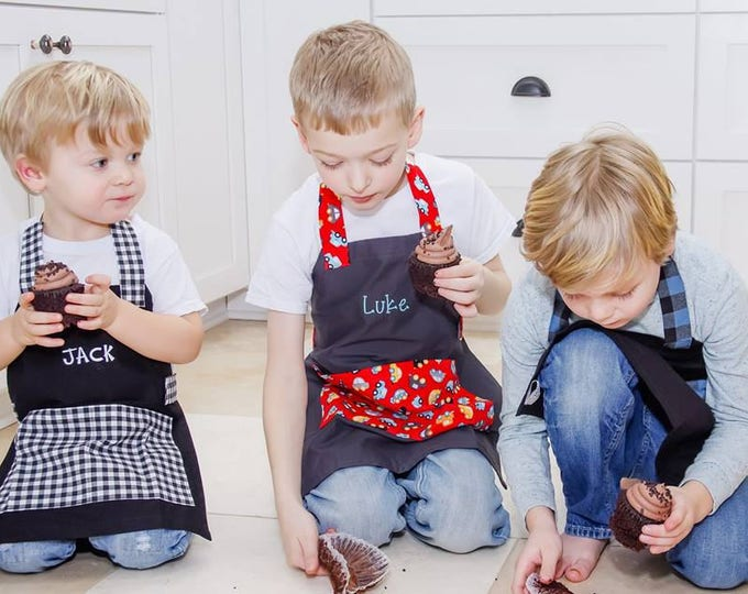 Kids Personalized Aprons - Boy Prints - Embroidered Name, Monogram, Preschool, Toddler Smock
