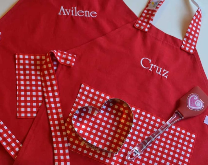 Kids Personalized Aprons - Red Gingham - Embroidered Name, Monogram, Preschool, Toddler Smock