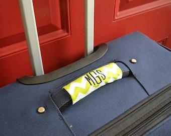 Monogrammed Luggage Handle Wrap - Set of 2 Chevrons - Luggage Spotter, Handle Wrap, Stocking Stuffer