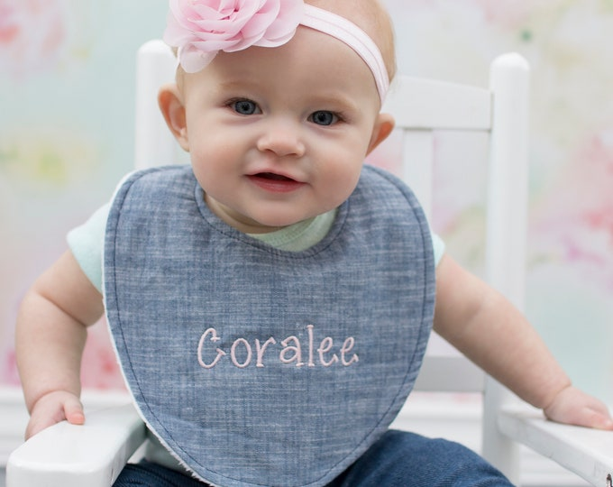 Boutique Bib - FREE Personalization - Baby Girl Options - New Baby Gift, Personalized Baby Gift, New Baby Girl
