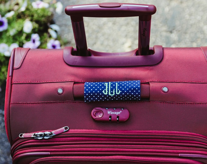 Monogrammed Luggage Handle Wrap - Dots  - Luggage Spotter, Handle Wrap, Stocking Stuffer, Christmas gift