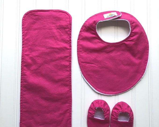 Handmade New Baby Gift Set - Hot Pink - New Baby Gift, Personalized Baby Gift, New Baby Girl