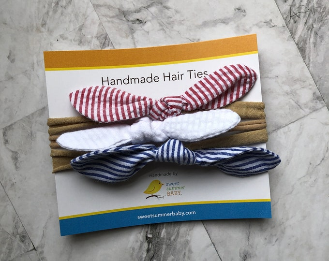 Red White Blue Summer in USA Rabbit Ear Hair Tie Headband Nylon One size fits all Baby Newborn