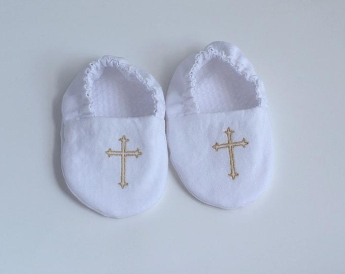 Embroidered Cross Infant Baptism Crib Shoes - White - Baby, Christening, Slippers, Godson, Goddaugther gift