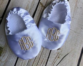 Monogrammed Satin Infant Baptism Crib Shoes - White - Baby, Christening, Slippers, Godson, Goddaugther gift