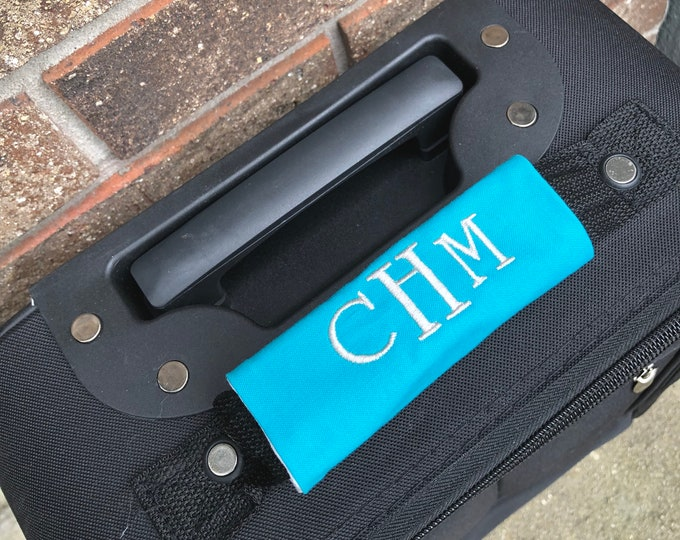 Monogrammed Luggage Handle Wrap - Choice of Patterns - Luggage Spotter, Handle Wrap, Stocking Stuffer
