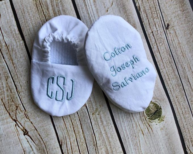 Monogram Name and Date Infant Baptism Crib Shoes -  Baby, Christening, Slippers, Godson, Goddaugther gift, Keepsake