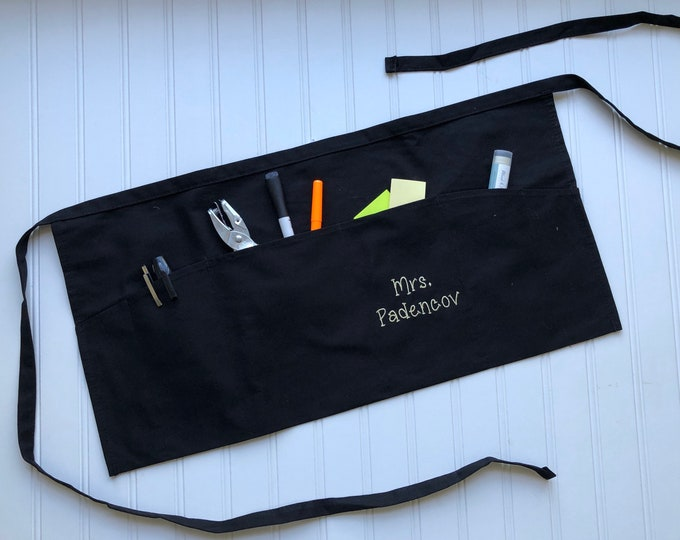 Personalized Teacher Apron - Back To School, Christmas Gift, Classroom Helper, Custom Teacher Gift