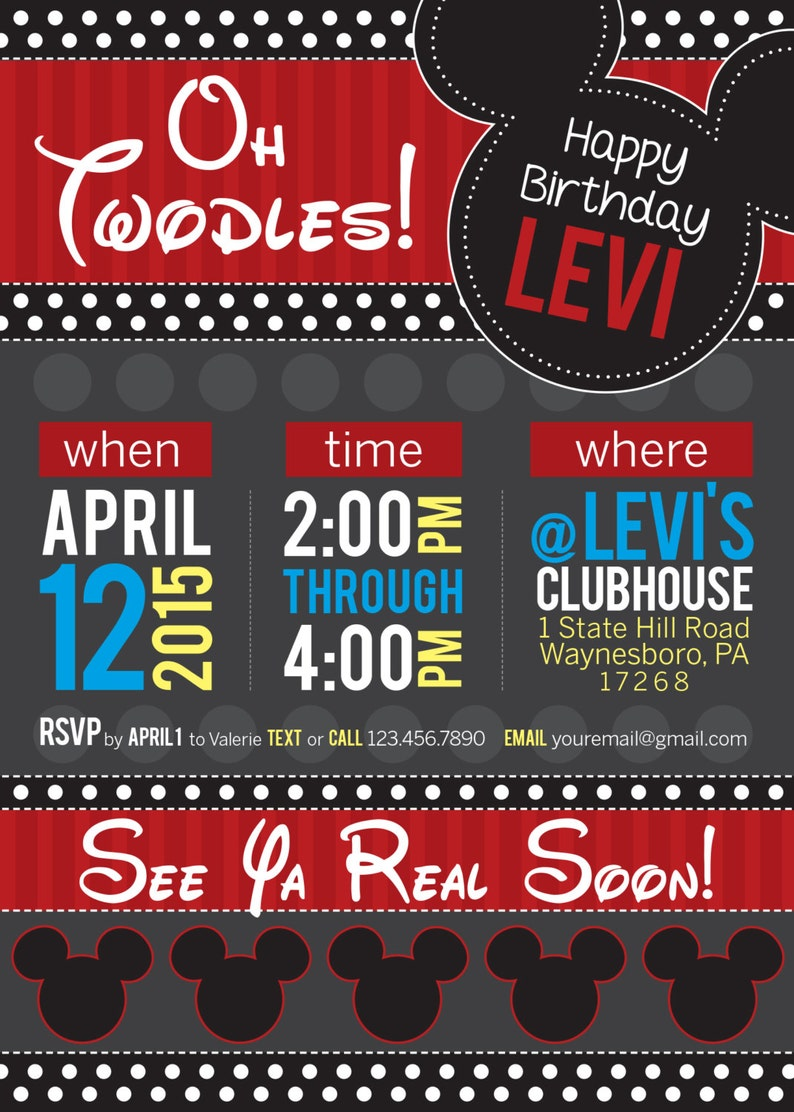 Oh Twodles Mickey Mouse Birthday Invitation Digital Download Etsy