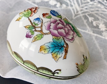 Herend Queen Victoria Trinket Box Porcelain Egg Shaped Box
