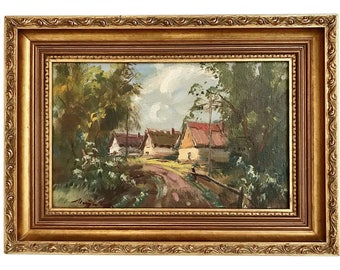 Vintage Original Oil Painting Landscape Signed Listed Hungarian Artist Country Cottage Scene