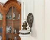 White opaline antique oil lamp Wall mounted hurricane lamp Seashell Heat Reflector Rustic Farmhouse Decor