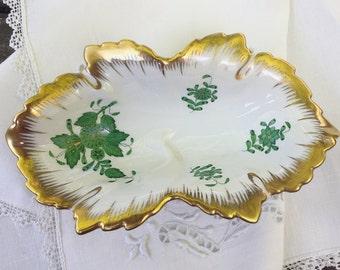 Herend Porcelain Trinket Dish Leaf Dish Green Floral China Leaf Chinese Bouquet