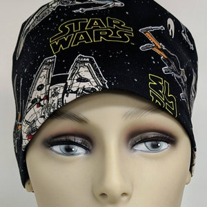 Pink Star Wars Chibi Characters ear saver scrub cap bouffant and standard