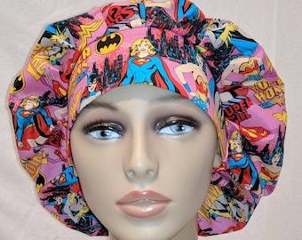 Wonder woman super girl super hero bouffont scrub hat, ribbon