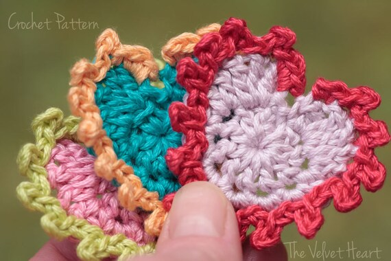Easy Crochet Heart Pattern Applique With Yarn Valentine Etsy