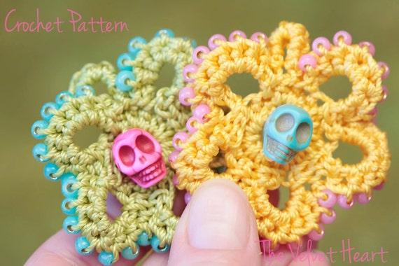 Necklace Pattern Crochet Flower Pattern Sugar Skull Jewelry Etsy