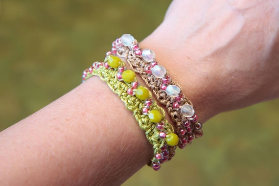 Crochet Bracelet With Beads Jewelry Tutorial Crochet Cuff Etsy