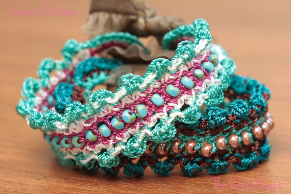 Crochet Jewelry Tutorial Beaded Bracelet Pattern Easy Diy Etsy