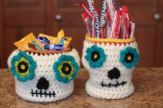 Crochet Skull Pattern Crochet Basket Pattern Halloween Etsy