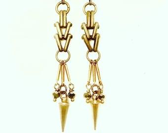 Vintage Chevron Chain with Spike Brass Earrings