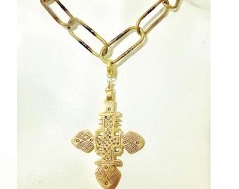 Detachable Brass Ethiopian Coptic Cross on Fancy Large Link Vintage Chain