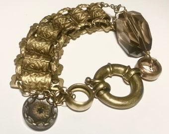 Antique Masonic Chain Bracelet with Smoky Quartz