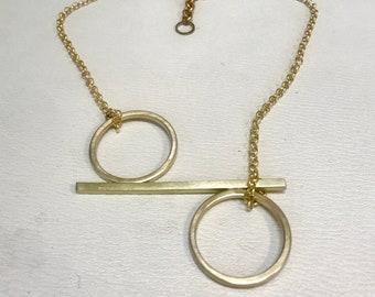 Handmade Brass Opposing Circle Bar Necklace