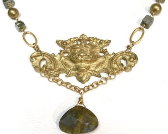 Antique Lion Hardware with Pyrite and Labradorite Necklace