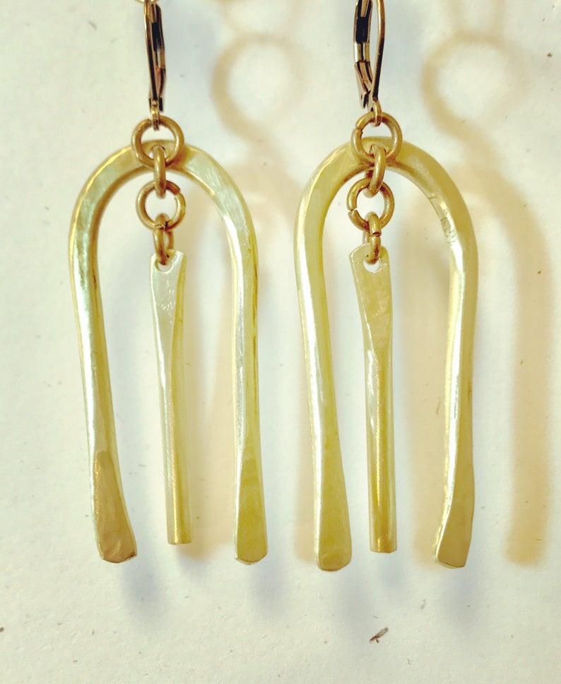 Primitive Arc Brass Earrings image 0