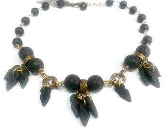 Black Lava with Black Vintage Glass Statement Necklace