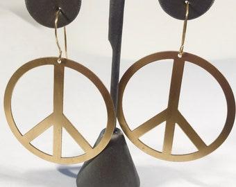 Brass Peace Earrings