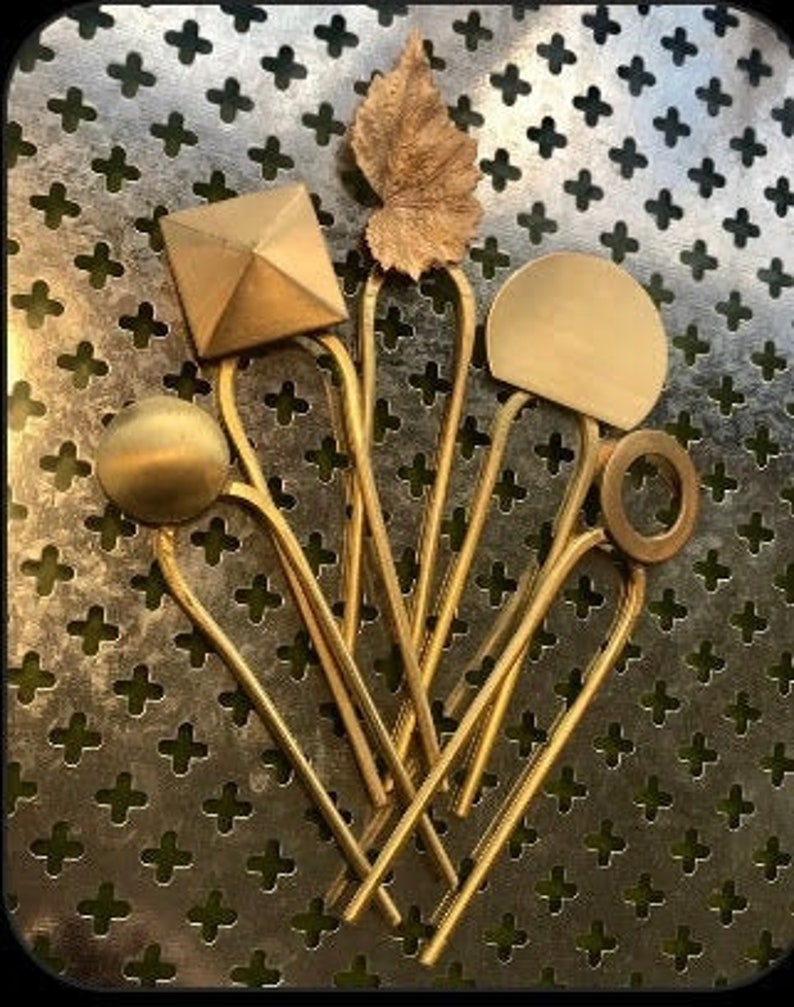 Hand forged Brass Hair Pin with Brass Embellishment image 0