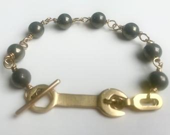 Toggle Wrench Pyrite Brass Bracelet