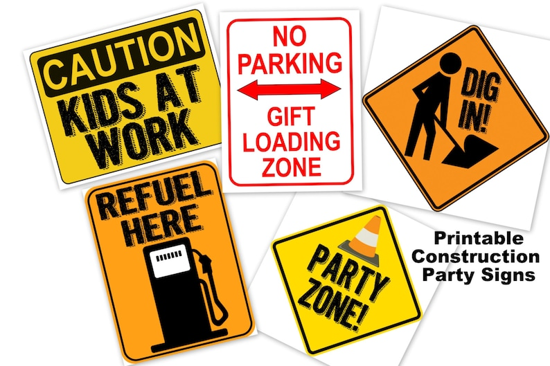 picture regarding Construction Signs Printable named Composition celebration poster indicator PRINTABLE - dig in just, occasion zone, refuel right here, present loading zone, little ones at function, birthday occasion, kid shower
