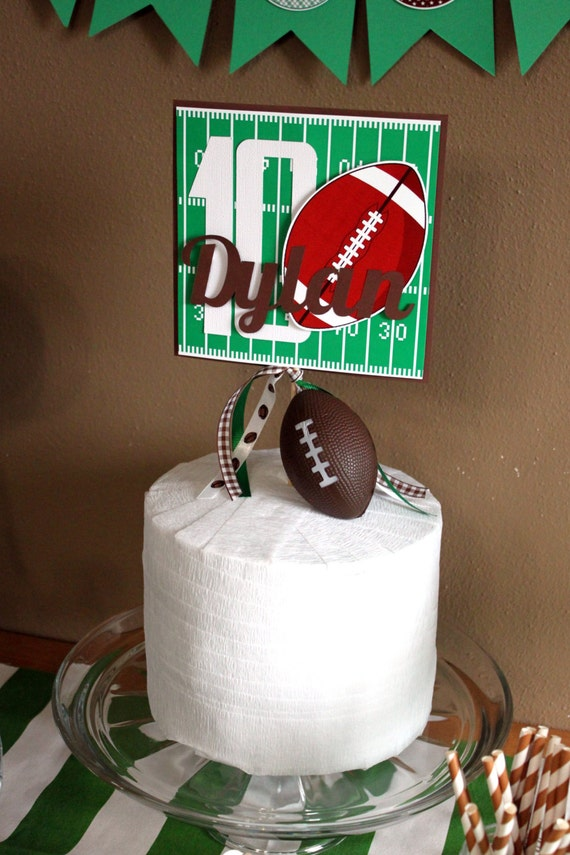 Football Party Cake Topper Football Birthday Cake Topper Etsy