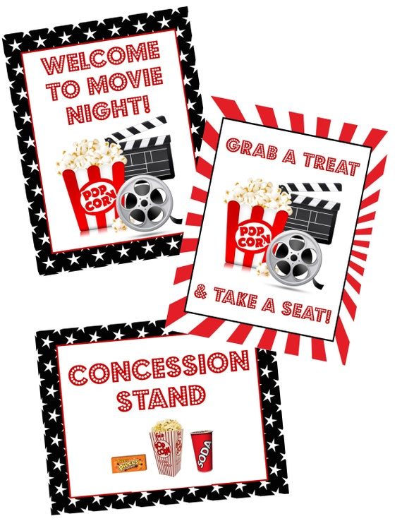graphic regarding Concession Stand Signs Printable titled Video clip night time poster mounted PRINTABLE - 3 signs or symptoms Welcome toward online video evening, birthday get together, concession signal, commitment inside video clip bash, enthusiasm within just theater
