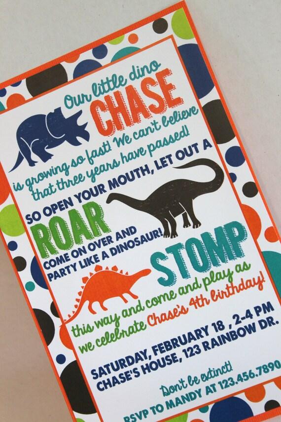 Dinosaur Birthday Party Invitation Etsy