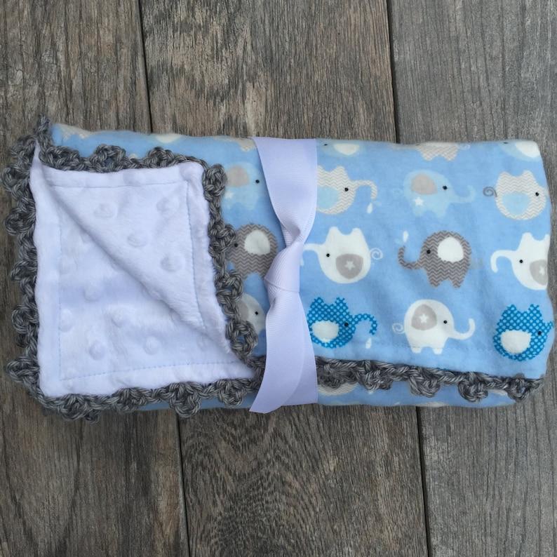 baby boy minky blanket baby boy shower gift crochet baby blanket Elephant blanket baby boy blanket handmade baby blanket