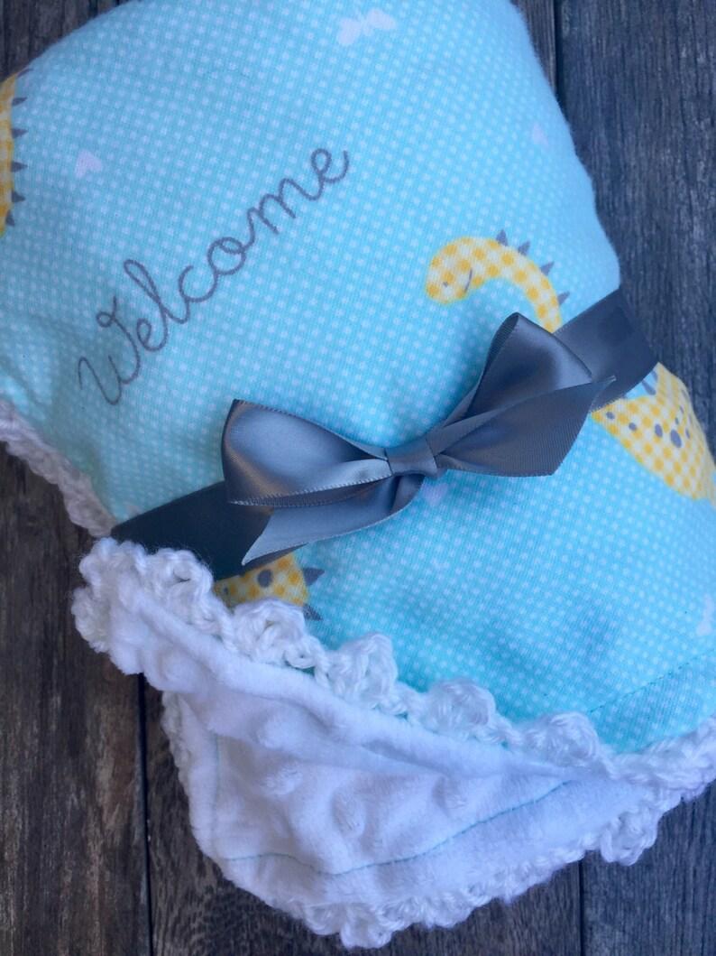 Dinosaur Baby Blanket Crochet Baby Blanket Handmade Baby Blanket Baby Boy Minky Blanket Baby Boy Blanket