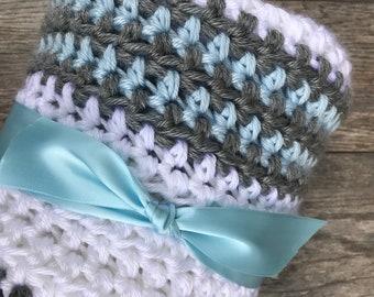 Crochet baby boy  blanket, crochet baby blanket , crochet baby gift ,knit baby boy blanket, crochet handmade baby blanket