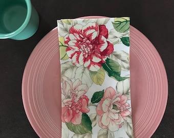 Vintage look cloth napkins, cotton napkins, Summer cloth napkins, floral handmade napkins, reusable dinner napkins, eco friendly napkins