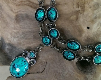 Vintage Blue Turquoise and Silver Pendant Necklace