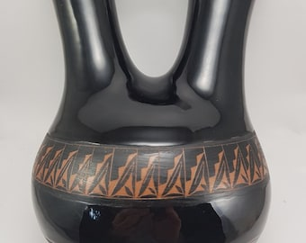 Vintage Navajo Sand Paint Wedding Vase Indian Hand Painted Sand Art Pottery Ceramic Vase Signed Original Southwest Native American