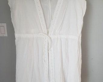 56ac638f86312 Vintage White Lace Cotton Beach Cover Up- Size XL