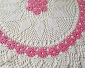 Gorgeous Large Vintage Crochet Pink Flower and White Circular Doily-31.5 Inches in Diameter