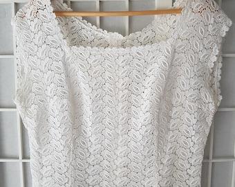 147414a24a1 Vintage White Lace Fine Cotton Ladies Blouse- Top- Size Medium