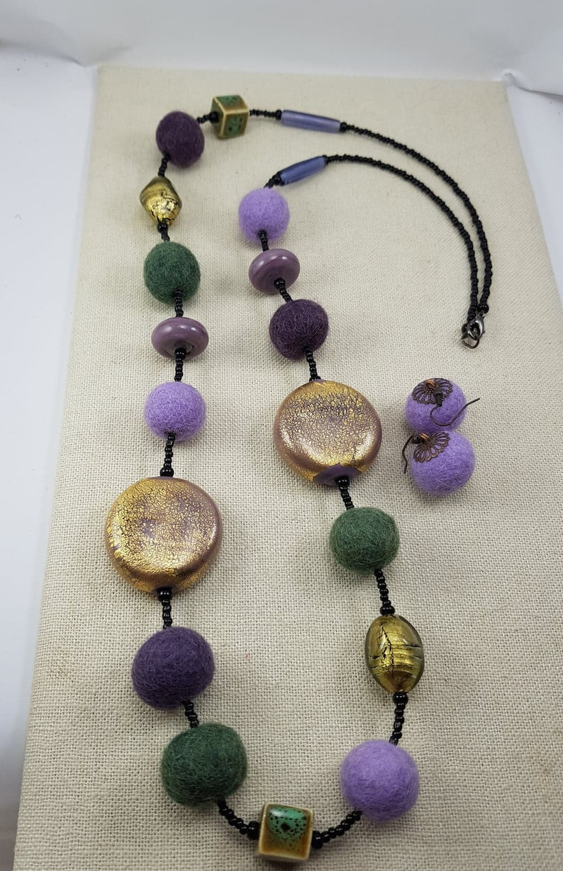 Beaded Murano Glass and Felt Balls Long Vintage Necklace with Earrings